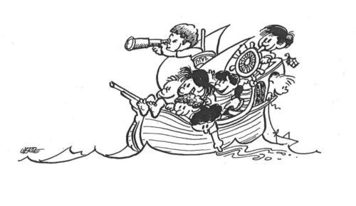 crianças - barco